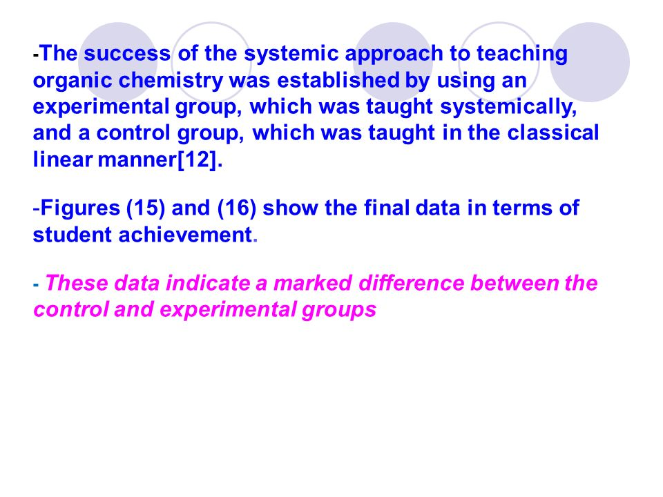 -The success of the systemic approach to teaching organic chemistry was established by using an experimental group, which was taught systemically, and a control group, which was taught in the classical linear manner[12].